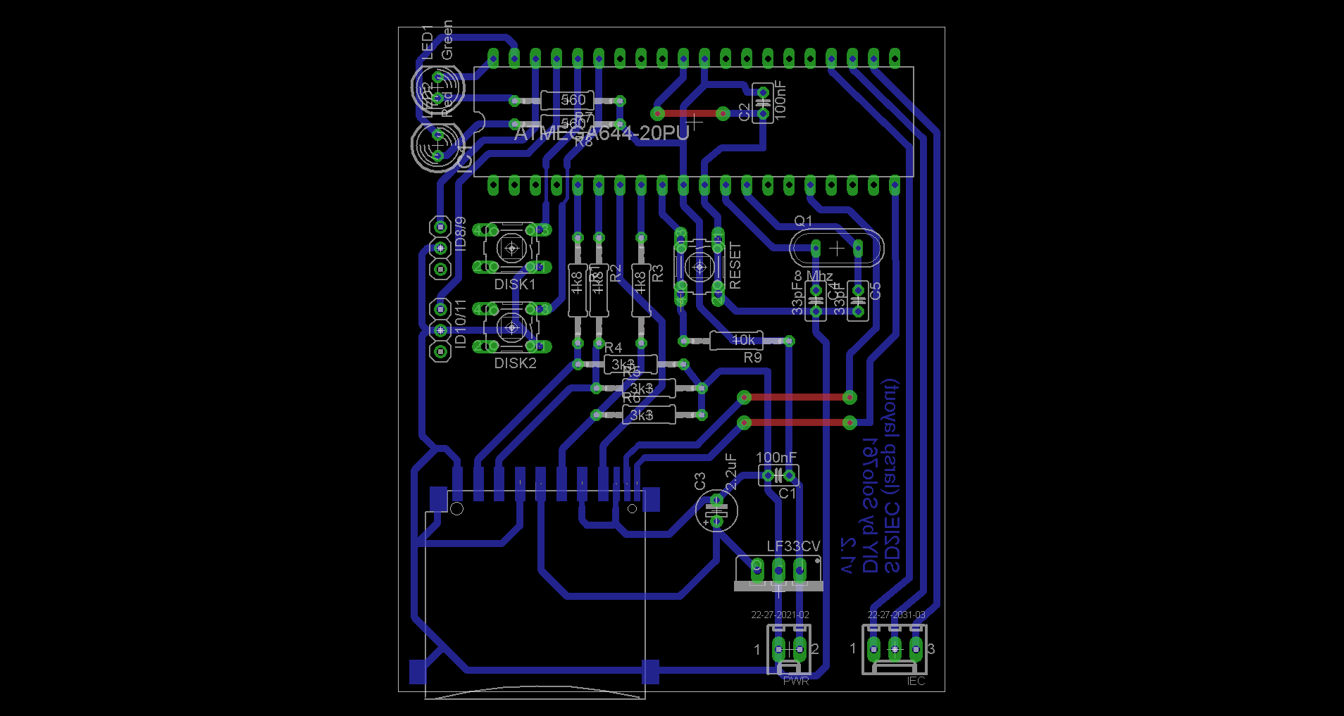 Sd2iec For Commodore 64 128 Diy 16bit Dust Schematic Hex Pcb Board Layout Using Lf33cv Voltage Regulator