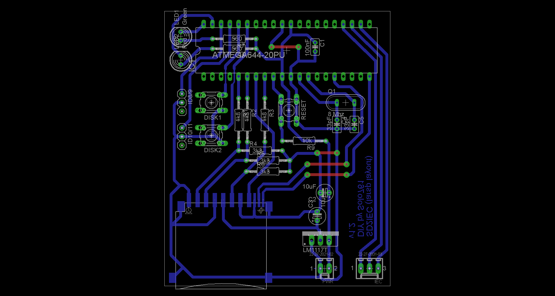 Sd2iec For Commodore 64 128 Diy 16bit Dust Wiring Diagrams Kob Board Layout Using Lmt1117t Voltage Regulator