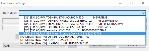 09 WinUAE HDD Settings